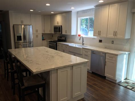 overlay shaker cabinets white shaker overlay kitchen cabinets with quartz