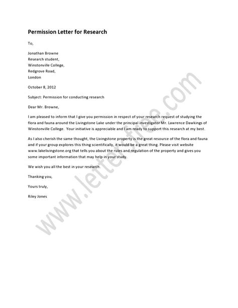 Research Letter Of Permission A Permission Letter For Research Is Written In Respect Of A Request Letter For Conducting A