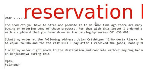 Reservation Letter For Goods Reservation Letters Exles Sles Business Letters