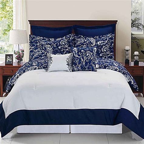 white and navy comforter enzo reversible comforter set in navy white bed bath