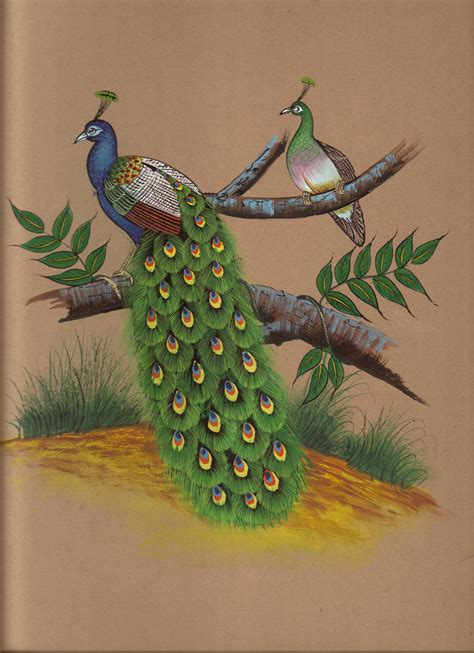 Handmade Nature Paintings - indian peacock painting handmade watercolor miniature