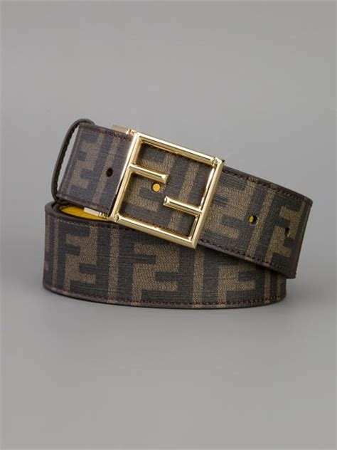 fendi logo print belt in brown lyst
