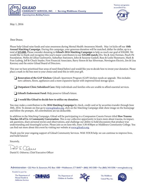 Donation Match Letter Matching Caign Gilead Community Servicesgilead Community Services