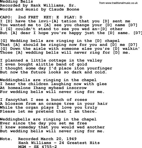 Wedding Bell Tabs by Hank Williams Song Wedding Bells Lyrics And Chords