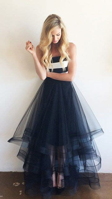 navy blue tulle  white stripe simple cheap long