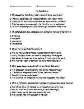 The Black Stallion Comprehension Questions Houghton