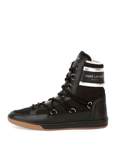 laurent high top sneakers laurent fur lined leather high top sneakers in black