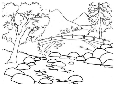 river trees coloring sheet daisy activities