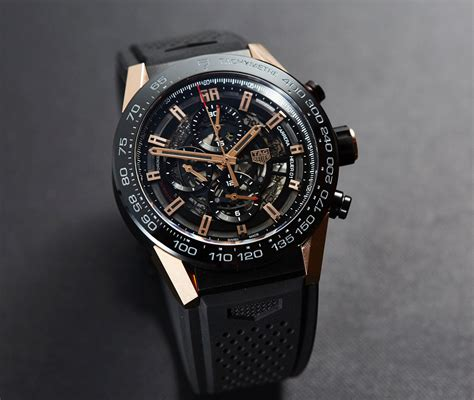 Tag Heuer Grand Calibre 8 Leather Black Gold in depth review heuer 01 gold titanium car2a5a the home of tag heuer collectors