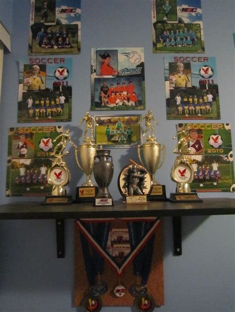 sports themed desk accessories vanity wall sports trophies sports themed decor kids