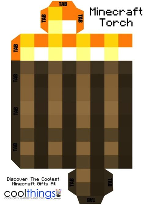 Minecraft Origami Printables - minecraft torch with flickering light be a