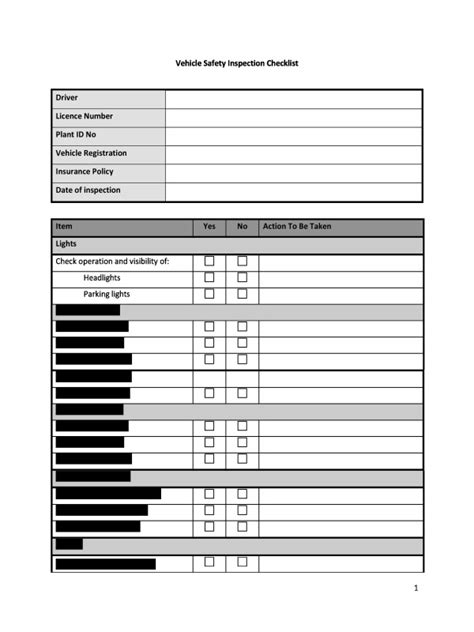 vehicle safety checklist template hr advance vehicle safety inspection checklist