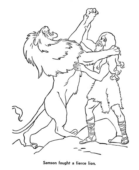 Bible Story Coloring Pages Rocky Mount Preschool Kids Church Samson Coloring Page