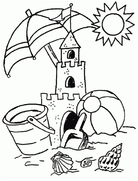 coloring pages summer coloring pages of summer holiday sand castle printable