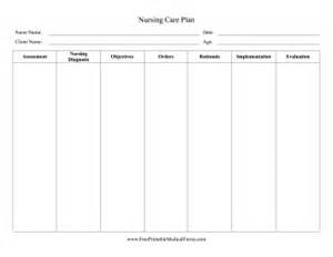 care plan forms template printable nursing care plan