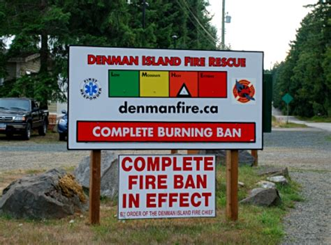 burning restrictions and bans denman island rescue