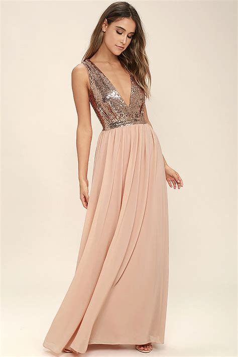 lulu s lovely rose gold maxi dress sequin maxi dress plunge