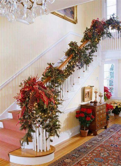 banister christmas garland 37 beautiful christmas staircase d 233 cor ideas to try digsdigs