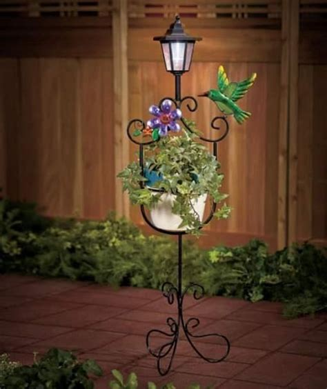 Hummingbird Home Decor Solar Lantern Plant Stand Hummingbird And Flower Deck Patio Home Decor Flowers Hummingbird