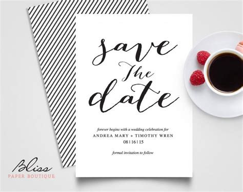 wedding invitation save the date template black and white custom printable save the date save the