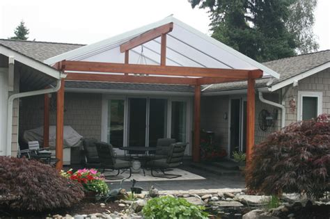gutterless roofs home design forum roof over deck gabled roof style traditional patio other by