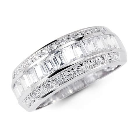 14k solid white gold cz anniversary wedding ring band 14k