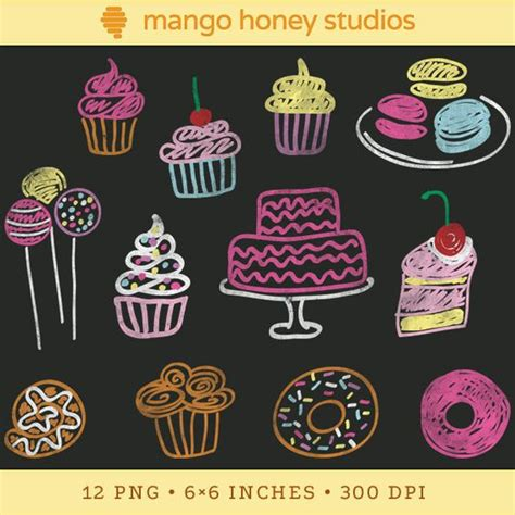 food doodle markers chalkboard clipart bakeries and cupcakes on