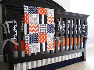 Orange And Blue Crib Bedding Boy Nursery Bedding Set Orange Navy Blue Gray Crib Bedding