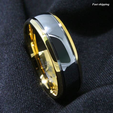 Cincin Titanium Ring 18k Gold mens wedding rings 8 6mm dome 18k gold silver mens tungsten ring wedding band bridal atop