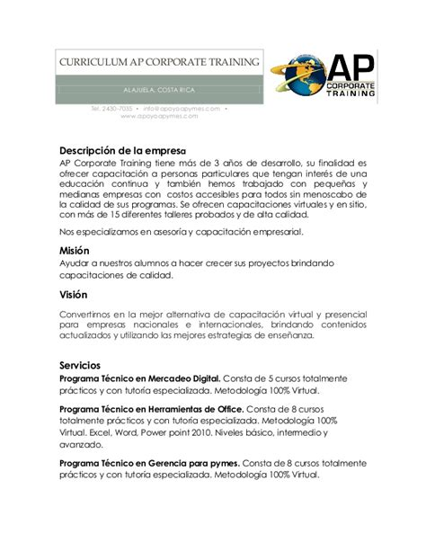 curriculum empresarial ejemplo de un curriculum search results calendar 2015