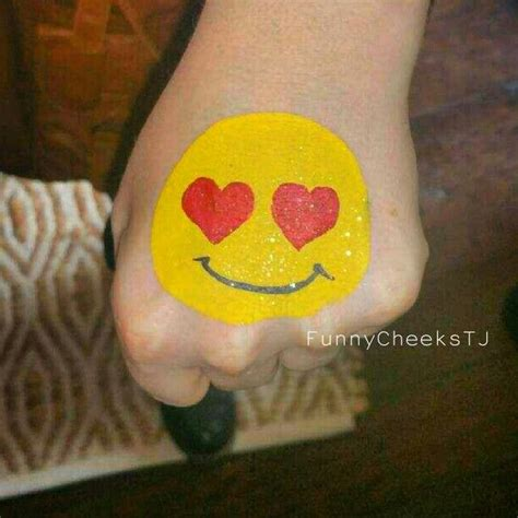 paint emoji love and hearts emoji face painting by funnycheekstj