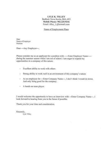 exles of cover letter for resume template