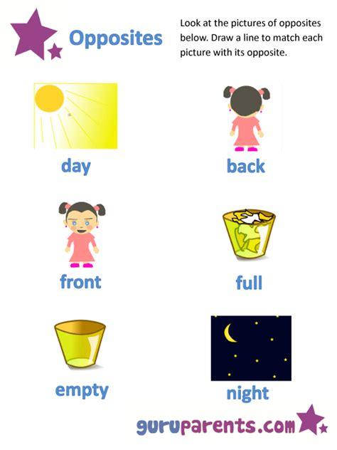 printable worksheets opposites kindergarten opposites worksheets guruparents