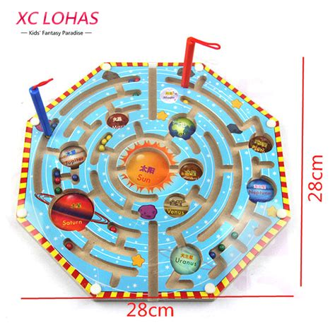 2in1 Magnetic Learning 2 in 1 wood magnetic maze magnetic pen labyrinth board chess intelligence children