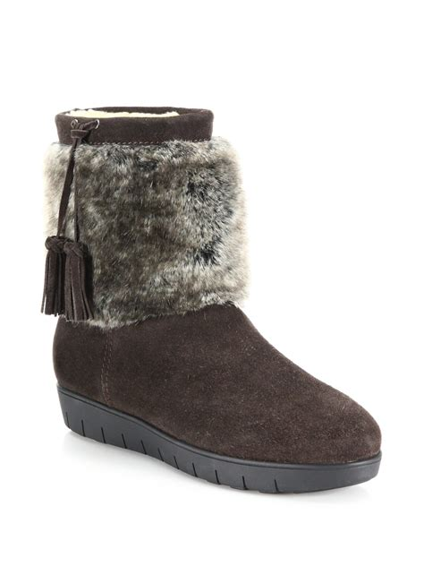 aquatalia wilona suede faux fur ankle boots in brown lyst