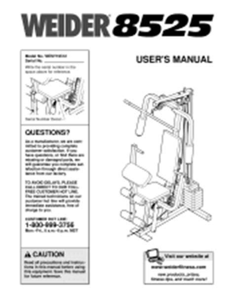 weider 8525 support and manuals
