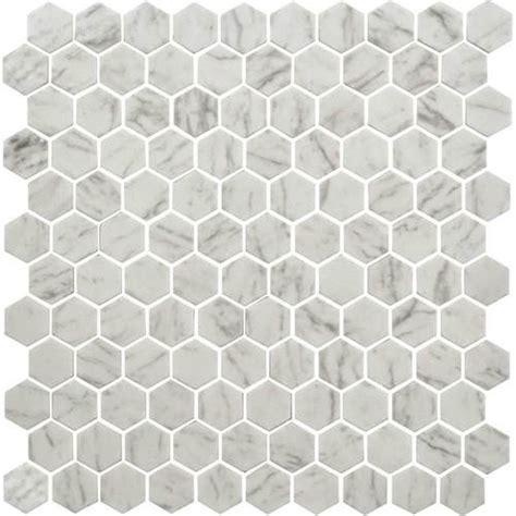 1 Inch White Hexagon Gloss Floor Tile - daltile hexagon white floor tile tile design ideas