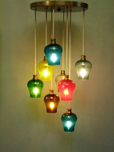 colored pendant lights vintage mid century modern multi colored glass pendant