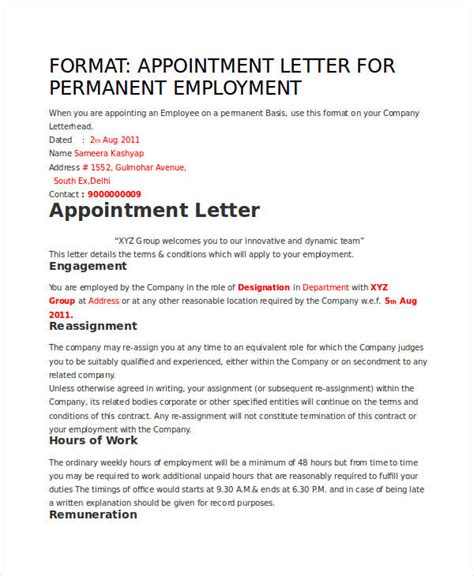 appointment letter employment agreement contract employee appointment letter citehr employment