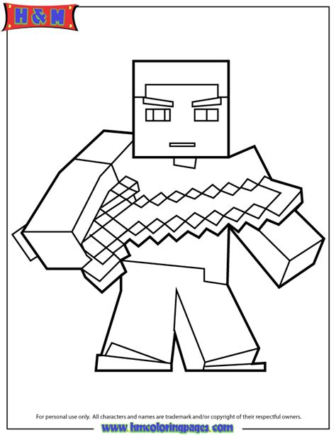minecraft coloring pages foldable herobrine with sword coloring page tekemist 228 lapsille