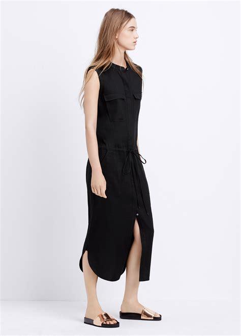 Sleeveless Drawstring Dress lyst vince sleeveless stretch linen cargo drawstring