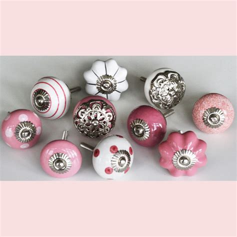 Pink Knobs by Set Of 10 Pink And White Ceramic Knobs