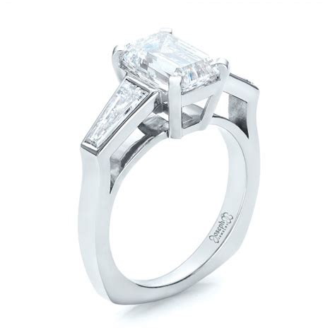 custom emerald cut and baguette engagement ring