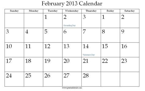 Feb 2013 Calendar February 2013 Printable Calendar 171 Printable Hub