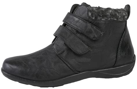 Fleece Lined womens fleece lined ankle boots flat faux leather comfort