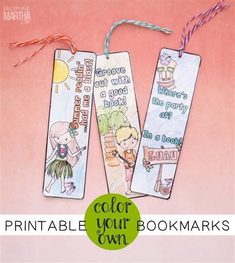 printable color your own bookmarks color your own printable bookmarks becoming martha
