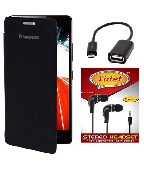 Lenovo A6000 Otg tidel black flip cover for lenovo a6000 plus with 3 5mm earphone micro otg cable