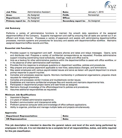 unusual generic job description template ideas resume