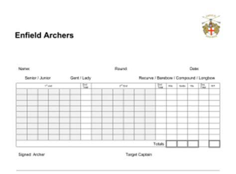 archery 300 scoor card template scoresheets enfield archers