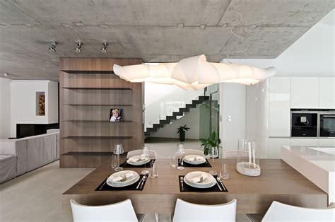 Concrete Interior Design by Lighting Dining Space Concrete Interior